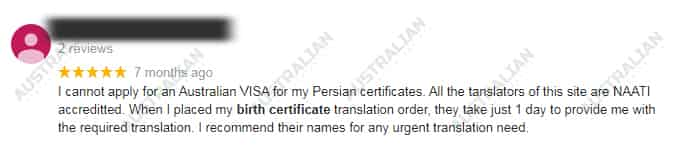 birth certificate translation